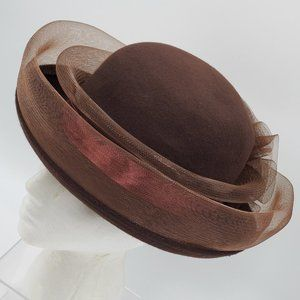 Chocolate Brown Wool Hat with Tulle Trim